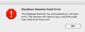 Database Daemon Fatal Error