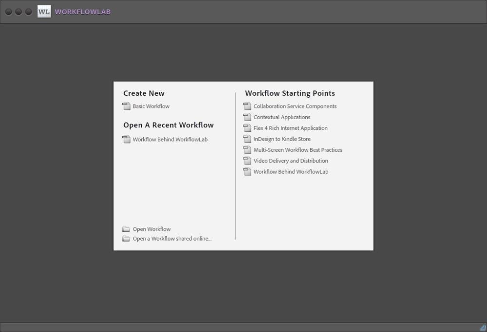 WorkflowLab Startup Screen